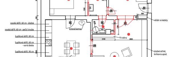 Půdorys - rozmístění nábytku